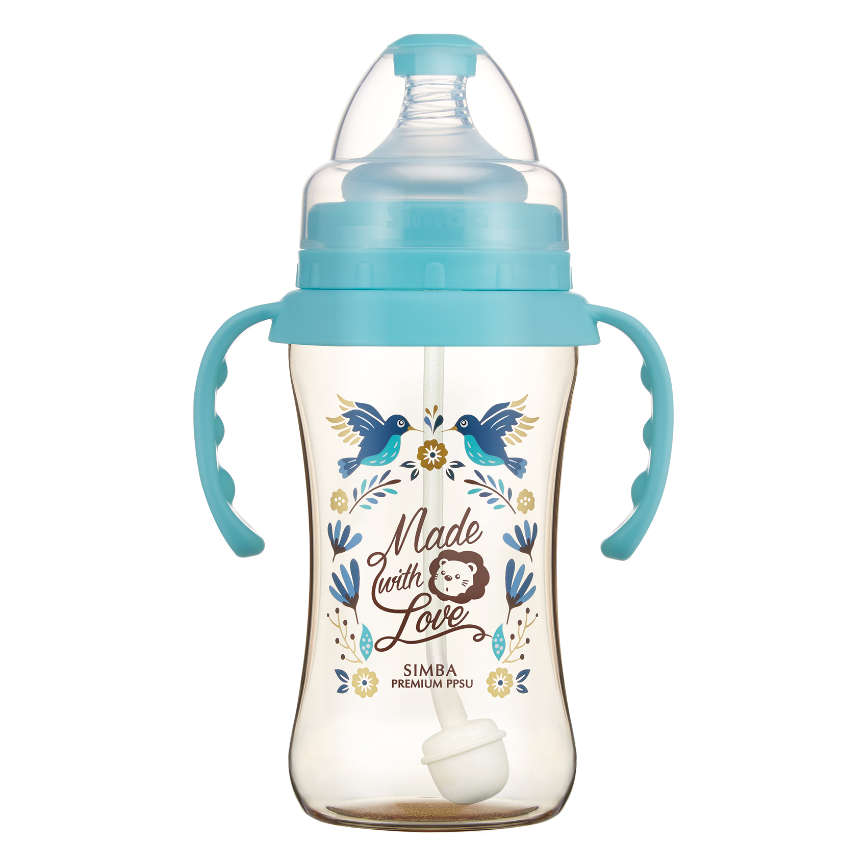 Simba Premium 9 oz PPSU Wide Neck Feeding Bottle with Handle and Weight Straw (Blue, Stage 1 Nipple)