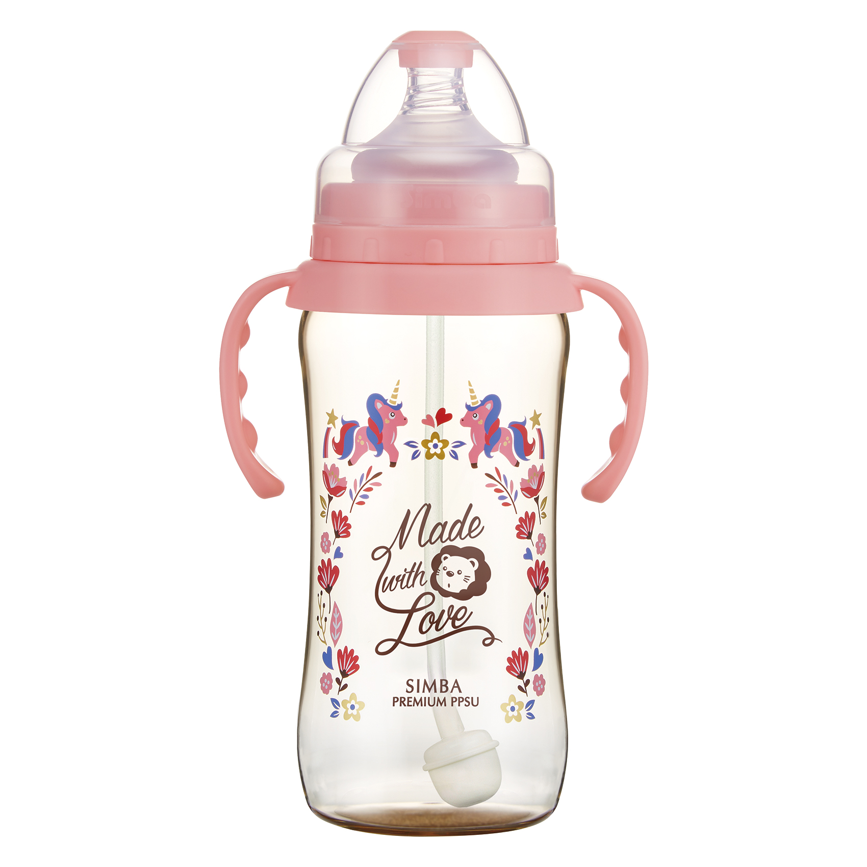 Simba Premium 12 oz PPSU Wide Neck Feeding Bottle with Handle and Weight Straw (Pink, Stage 1 Nipple)