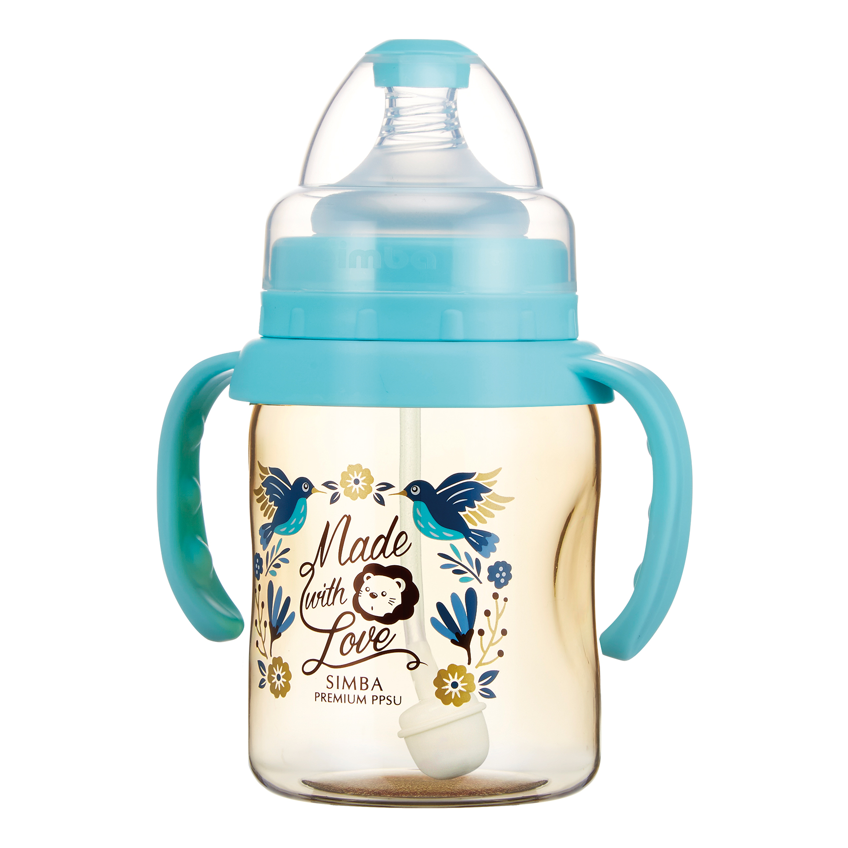 Simba Premium 7 oz PPSU Wide Neck Feeding Bottle with Handle and Weight Straw (Blue, Stage 1 Nipple)