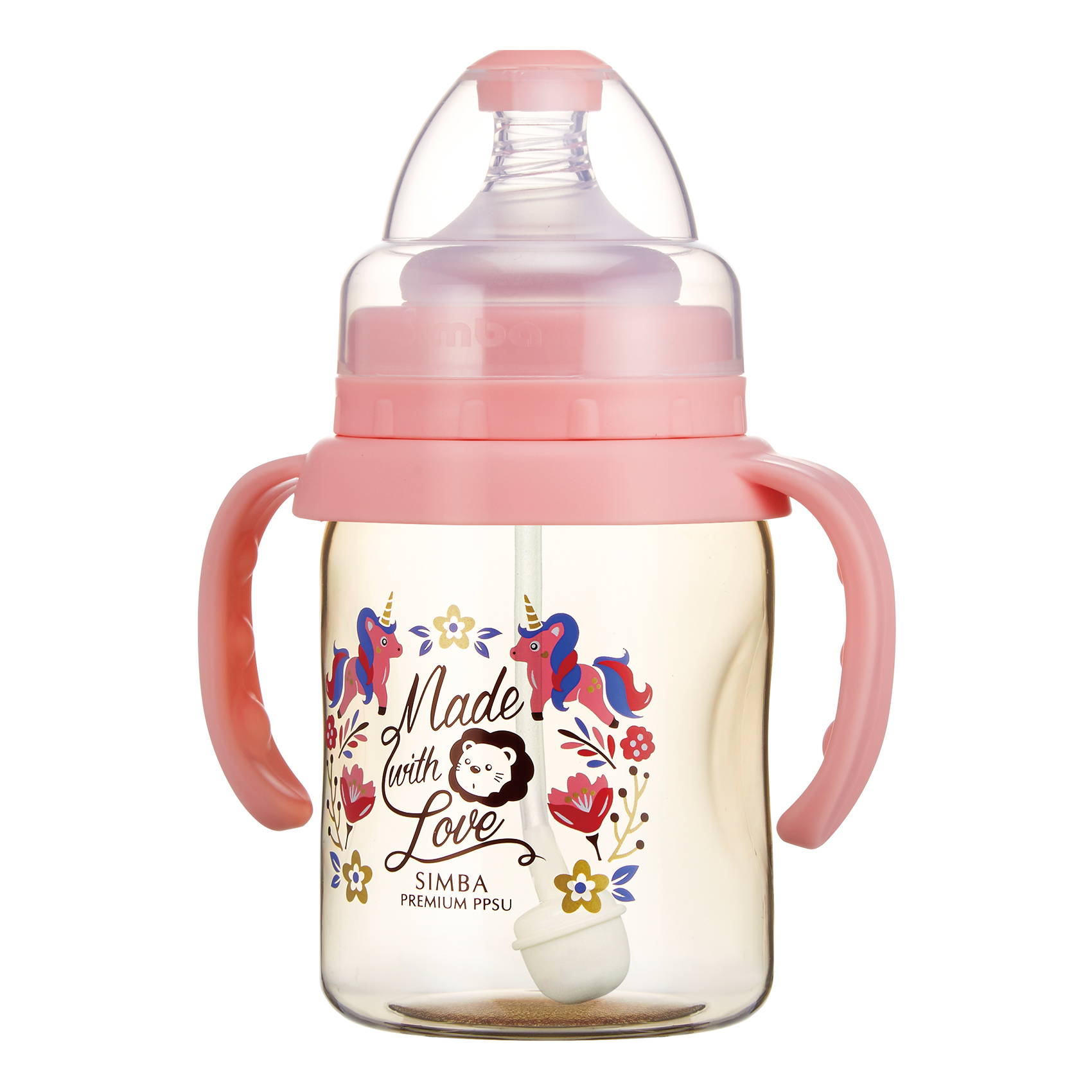 Simba Premium 7 oz PPSU Wide Neck Feeding Bottle with Handle and Weight Straw (Pink, Stage 1 Nipple)