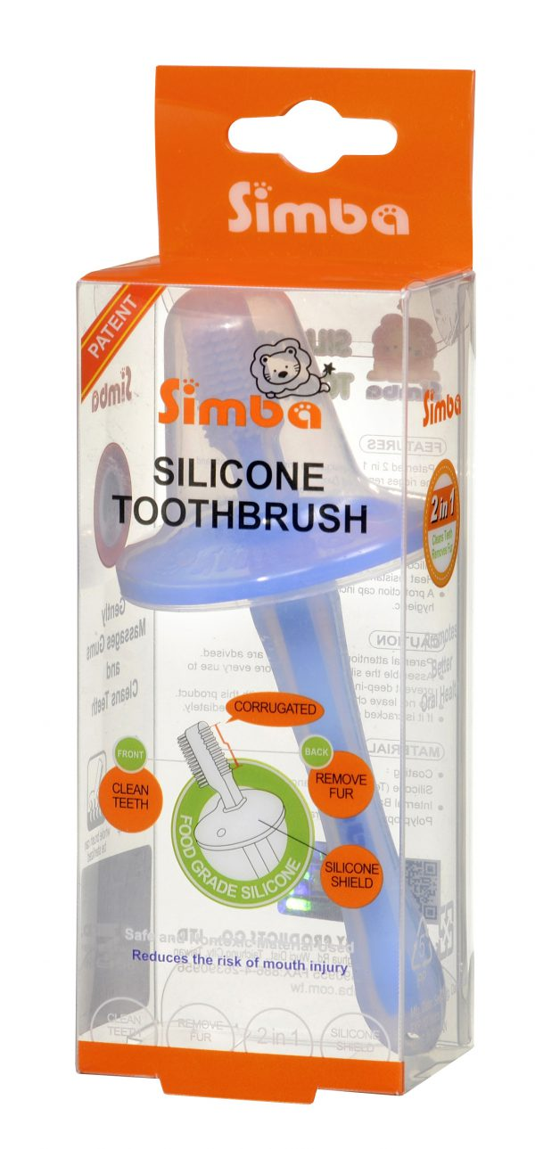 Simba Soft Bristle Silicone Baby Toothbrush with Milk Residue/Fur Scrubber (Blue)