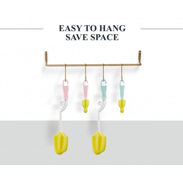 Simba Sponge Rotary Bottle and Nipple Brush with Easy Hanging Hook ( Blue)