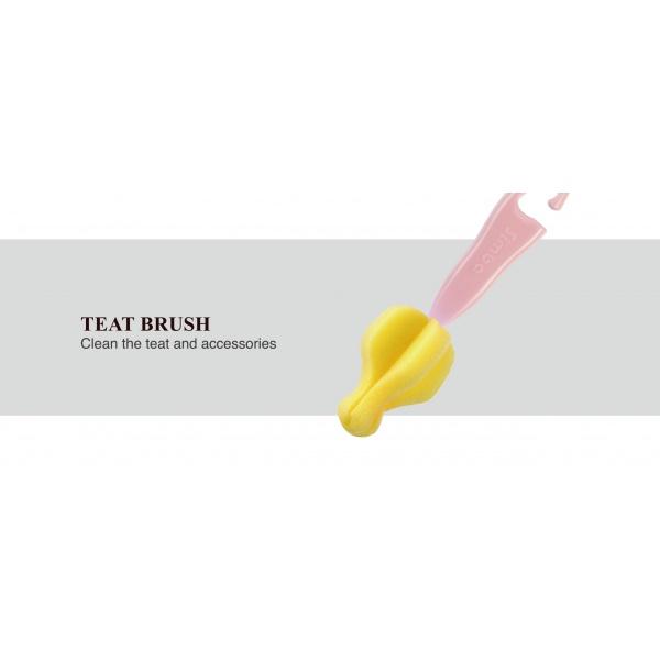 Simba Sponge Rotary Bottle and Nipple Brush with Easy Hanging Hook ( Pink)