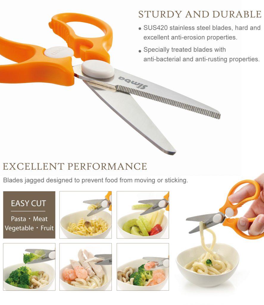 Simba Premium Portable Safety Food Scissors (Orange)