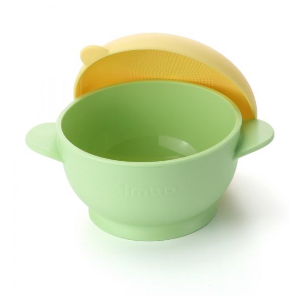 Simba Amazing Self-Feeding Suction Bowl with Lid, BPA-Free (Green Burger)