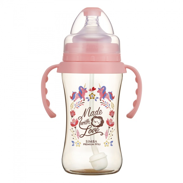 Simba Premium 9 oz PPSU Wide Neck Feeding Bottle with Handle and Weight Straw (Pink, Stage 1 Nipple)