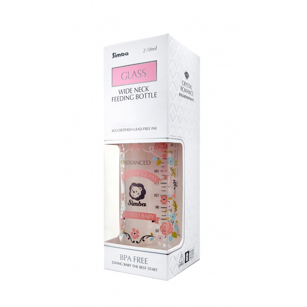 Simba Crystal Romance Wide Neck Borosilicate Glass Feeding Bottle - 9 oz (Pink)