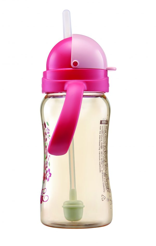 Simba PPSU  8 oz Flip-Top Straw Sippy Cup (Pink)