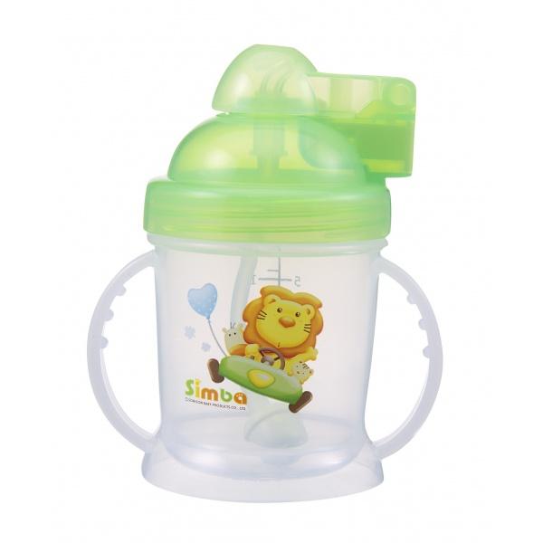 Simba BPA Free Baby Training Cup w/ 360° Auto Straw (Green, 6 oz)