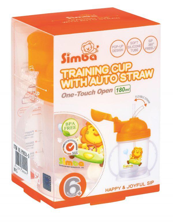 Simba BPA Free Baby Training Cup w/ 360° Auto Straw (Orange, 6 oz)