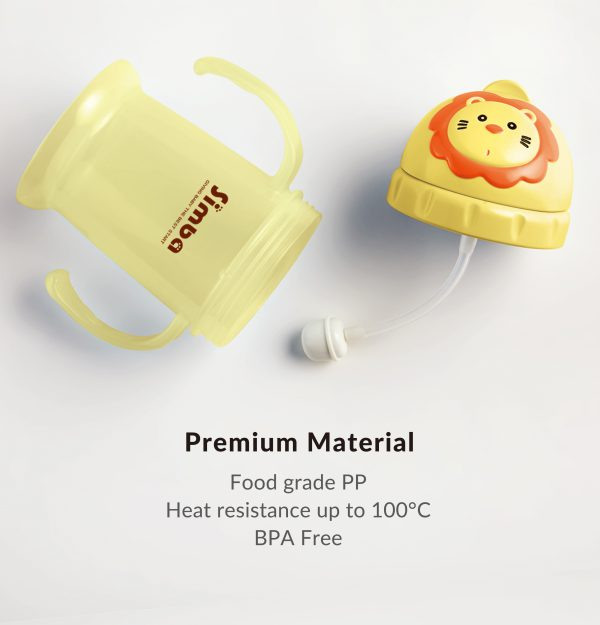 Simba 8 oz Flip-it Baby Training/Sippy Cup with Weighted Straw (Yellow Lion, BPA Free)