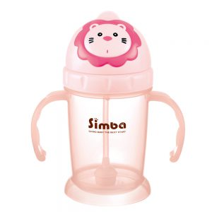 Simba 8 oz Flip-it Baby Training/Sippy Cup with Weighted Straw (Pink, BPA Free)