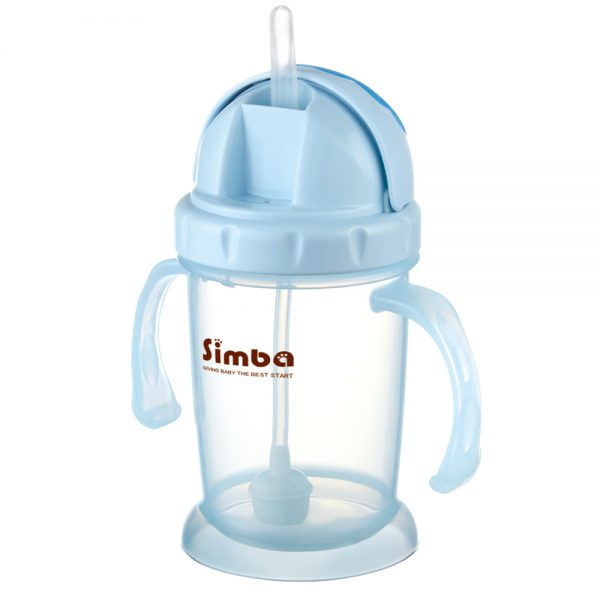 Simba 8 oz Flip-it Baby Training/Sippy Cup with Weighted Straw (Blue, BPA Free)
